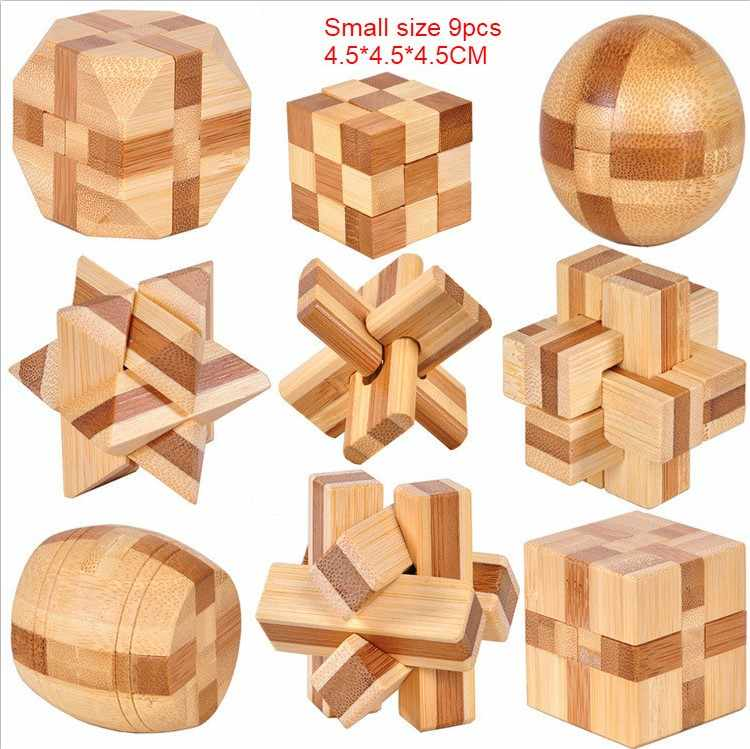 Small Size Bamboo Kong Ming Lock Toys Classic IQ 3D Wooden Interlocking Burr Puzzles Brain Teaser Game Toy for Adults Children