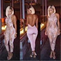 2019 New Fashion Sparkly Perspective Jumpsuit Pink Sexy Outfit Shining Birthday Party Costume Body Suits Celebrate Wear
