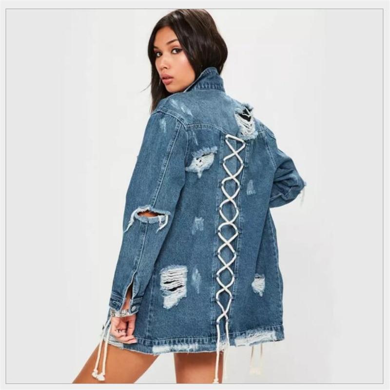2018 Denim Giacche Donna Foro Fidanzato Stile Manica Lunga giacca di Jeans Denim Allentato Primavera Autunno Cappotto Denim Jean K246