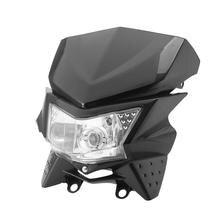 Enduro Styl Czarny Motocykl Reflektorów Zestaw Owiewki Z Miasta Światła 12 V Hi-Lo Żarówki Mijania Dla Podwójny Sport Dirt Bike StreetFighter