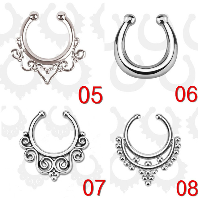 Women Silver color piercing clip fake nose ring jewelry clicker faux septum non Body Hoop