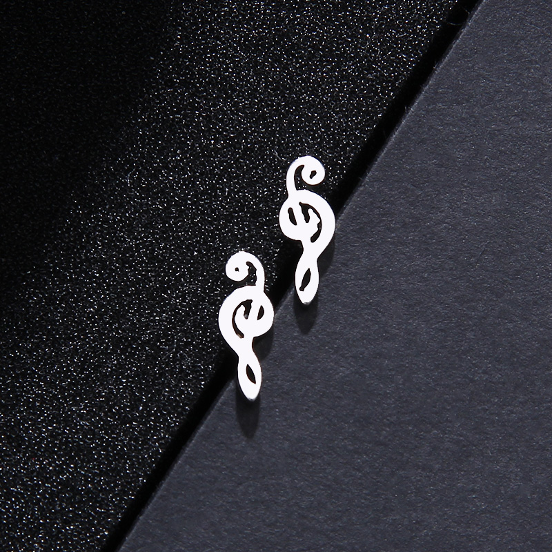 Stainless Steel Music Jewelry Set Necklace Bracelet Earring Treble Clef S546