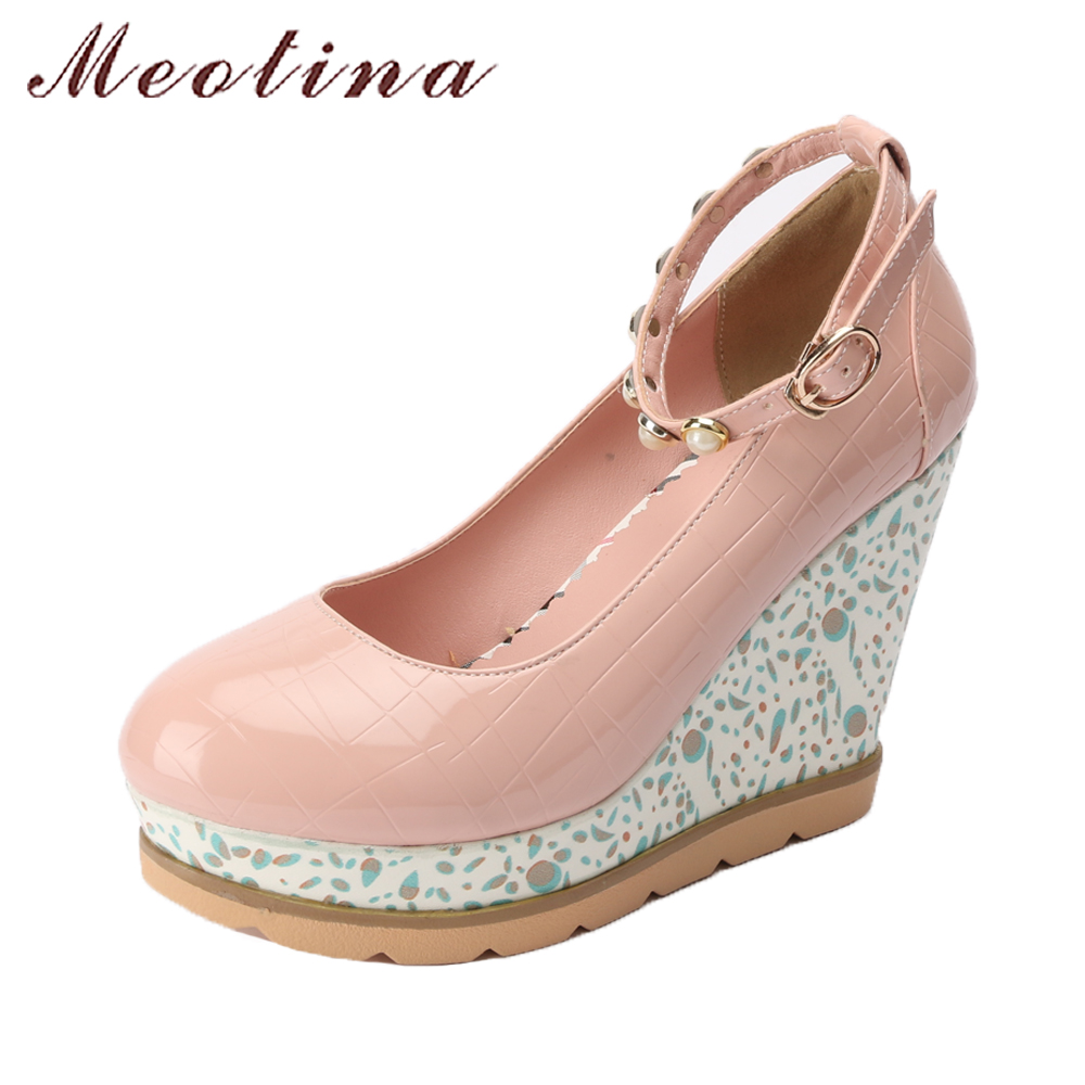 Meotina Platform Shoes Wedge High Heels Women Wedding Bridal Shoes 2018 Spring Pumps Pearls Shoes Ankle Strap Large Size 42 43 2018 new big size 34 42 women cross tied pumps stiletto ankle buckle gladiator high heels blue red platform wedding bridal shoes