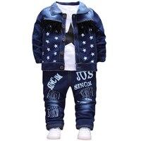 Fashion Autumn Boys Clothing Sets Denim Stars Boys Coat With T Shirt Holes Pants 3pcs Children