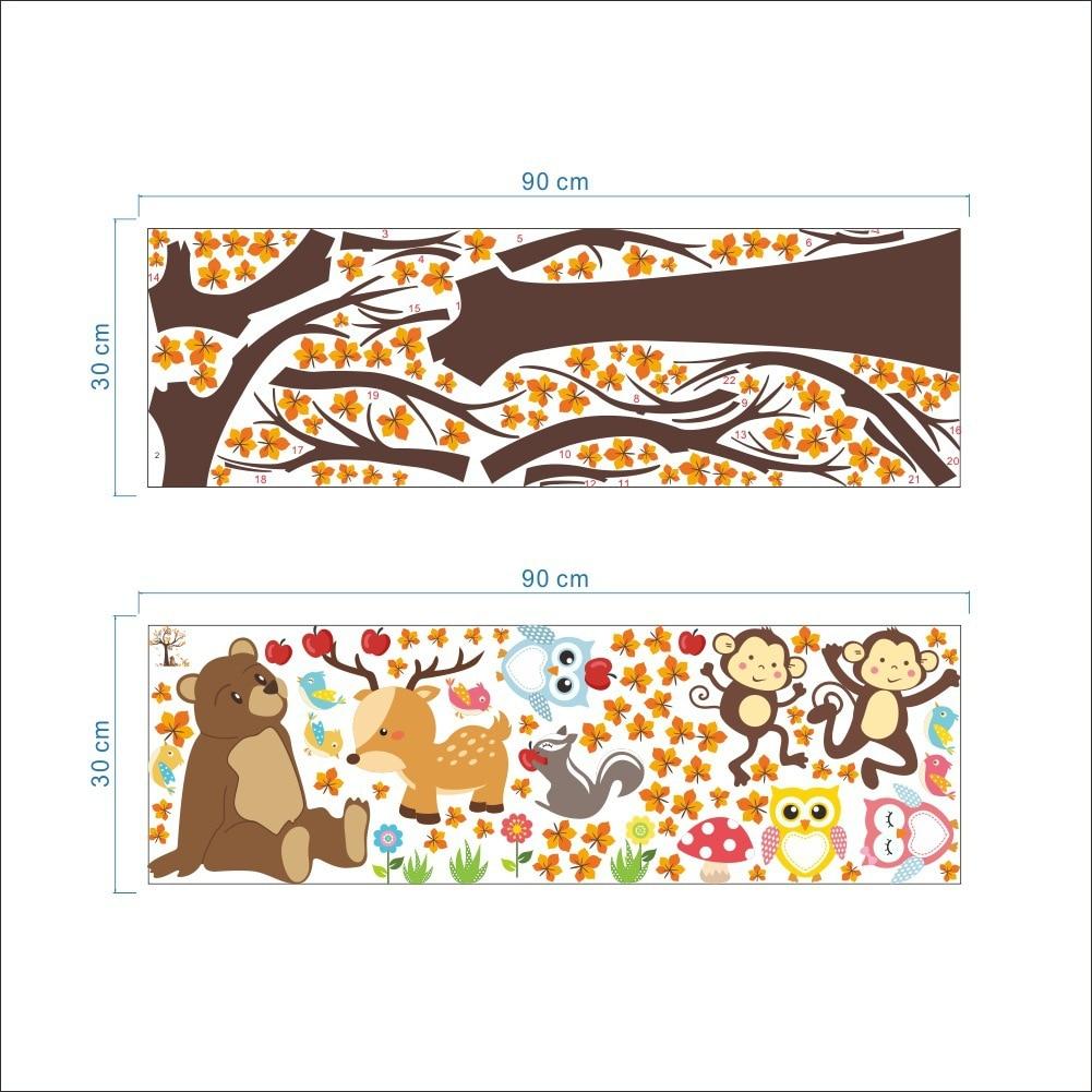 Мультфильм животных Сова обезьян лес дерево стикер спальня гостиная украшением детская комната защиту окружающей среды