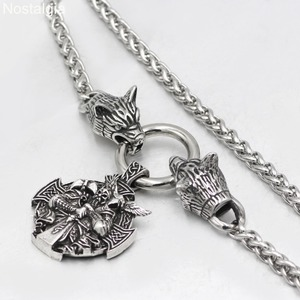 Image 4 - Nostalgia Viking Odin Raven Helena Rosova Nordic Wicca Pagan Talisman Amulet Wolf Head Stainless Steel Chain Necklace