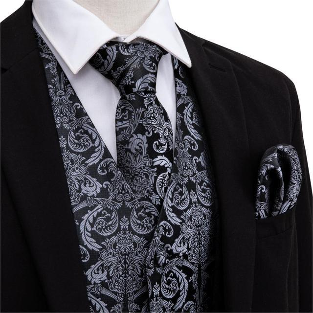 Designer Mens Classic Black Paisley Jacquard Folral Silk Waistcoat Vests Handkerchief Tie Vest Suit Pocket Square Set Barry.Wang 4