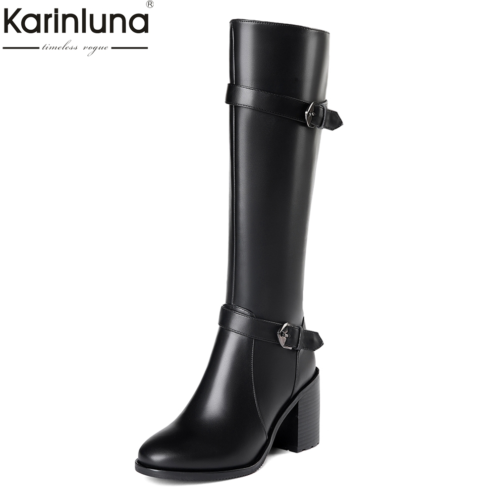 KARINLUNA 2018 Plus Size 33-45 Genuine Cow Leather Boots Women Shoes Square High Heels Best Quality Knee High Boots Shoes Woman karinluna 2018 top quality size 33 41 brand shoes women knee high boots genuine leather square heels riding boots woman shoes