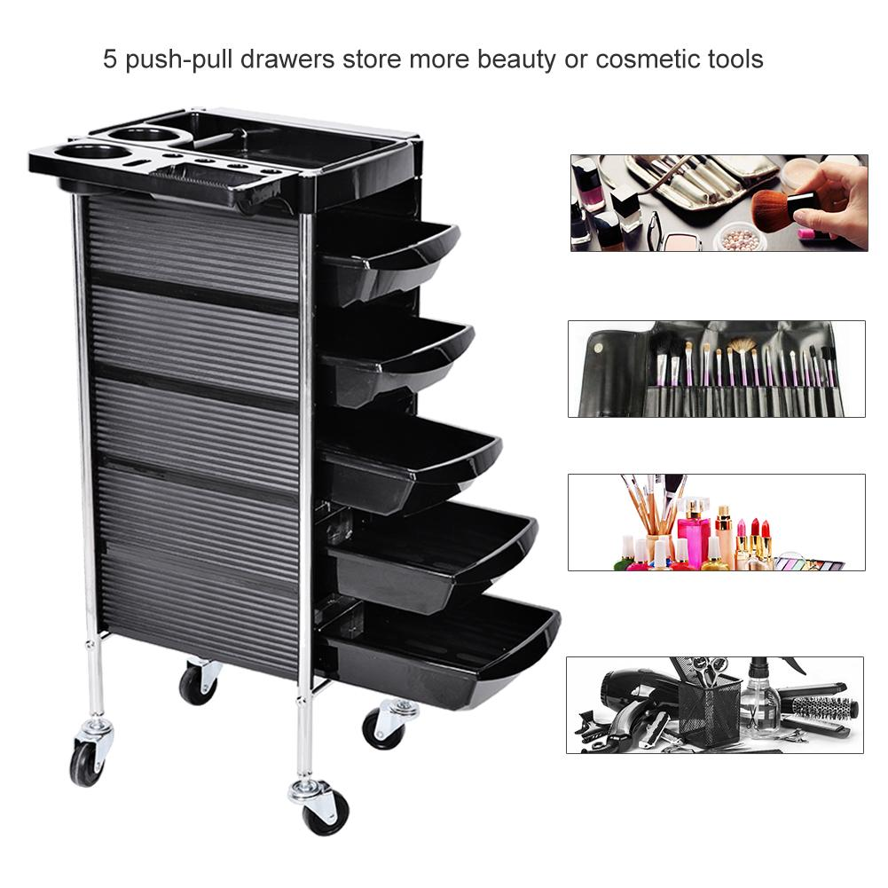 Hair Salon Instrument Storage Cart Adjustable Height Trolley Beauty Tools with 5 Drawers Hair Stying Tool