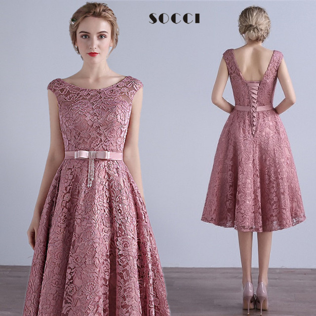 d92772cf3dc1 SOCCI Elegant Dirty Pink Beading Bow Sashes Evening Dresses mother of the bride  dress Formal Wedding party Gown Custom made free