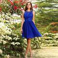 Don Nupcial Corto Azul Vestidos de Baile 2016 Parte Superior de Encaje line scoop formal vestidos del partido vestido de festa dress para la graduación