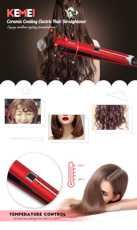 Kemei KM-2205 Revestimento Cerâmico Alisador de Cabelo Elétrico alipearl cabelo unice cabelo Display LCD Alisamento Flat Iron Digital