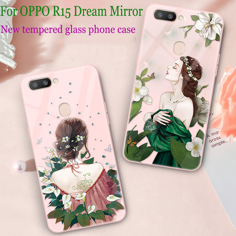 For OPPO R15 Dream Mirror case cover fashion Girls tempered glass back cover For OPPO R 15 Dream Mirror case phone cases shell