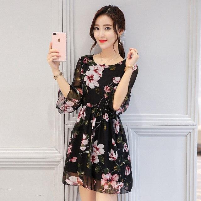 18c61e982fd 2019 корейский стиль женское модное летнее платье свободное ТРАПЕЦИЕВИДНОЕ  ПЛАТЬЕ С Рукавами в форме листа лотоса