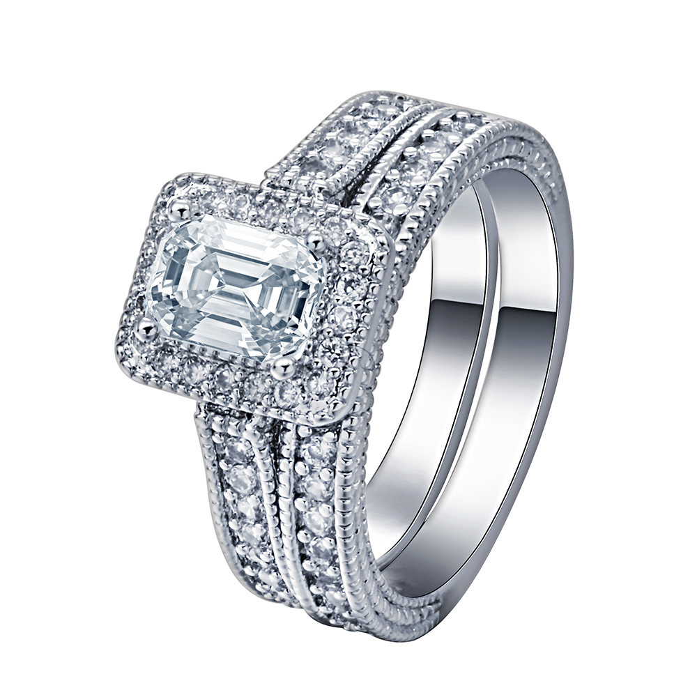 Silver Plated Engagement Ring Sets Paved Cubic Zircon