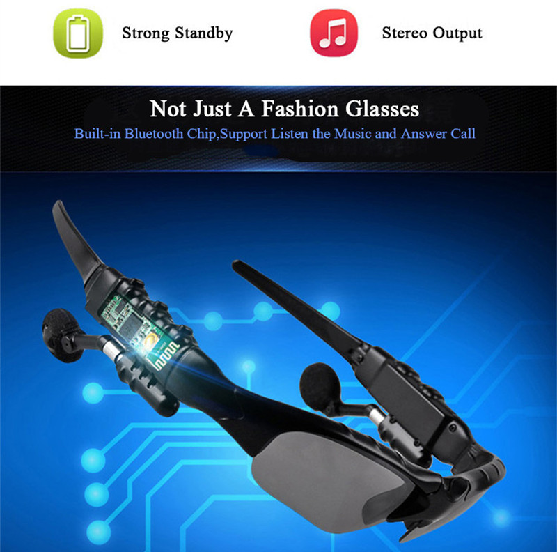 Bluetooth Sunglasses Outdoor Smart Sun Glasses Wireless Headset with Microphone for Smart Phones black normal 13