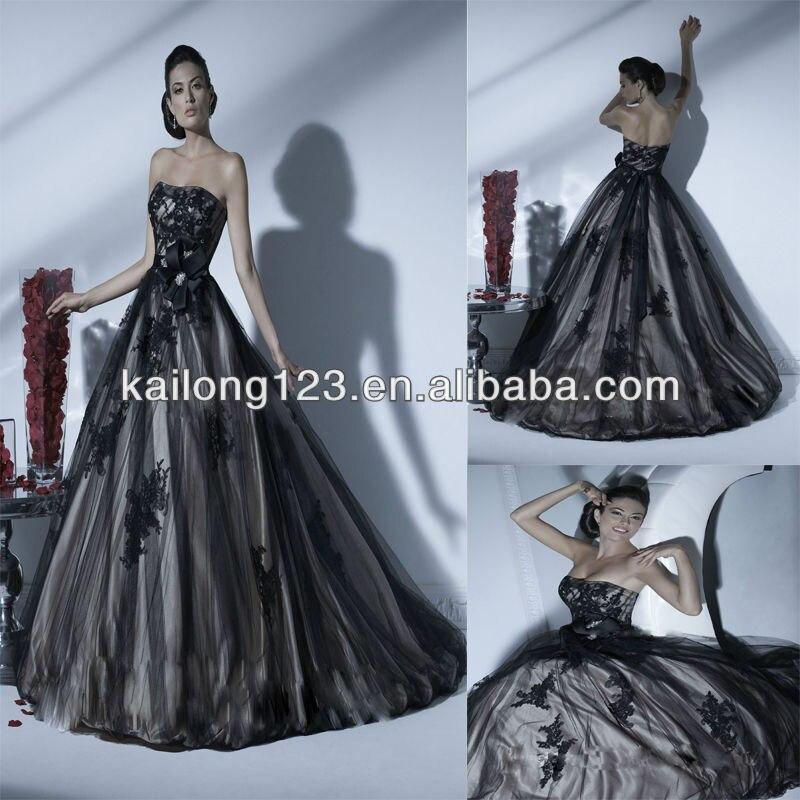 Black Lace Overlay Wedding Dresses