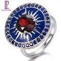 Lohaspie 2.30ct Natural Gemstone Garnet Red & Blue Sapphire Solid 14 K Ouro Branco Anéis Para As Mulheres Finas Jóias