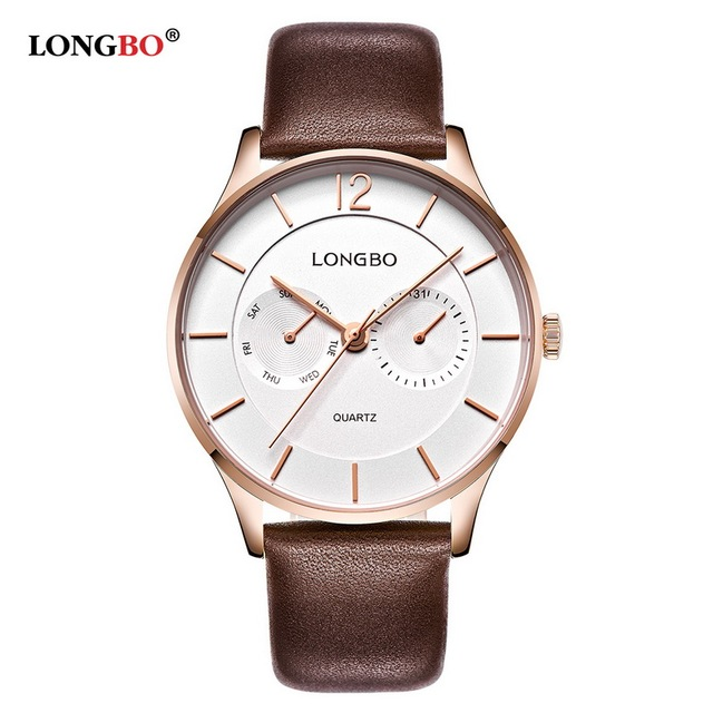 LONGBO Brand 2017 New Fashion Mens Quartz Male Watches Leather Band Business Waterproof Wristwatch reloj hombre sports men 5011