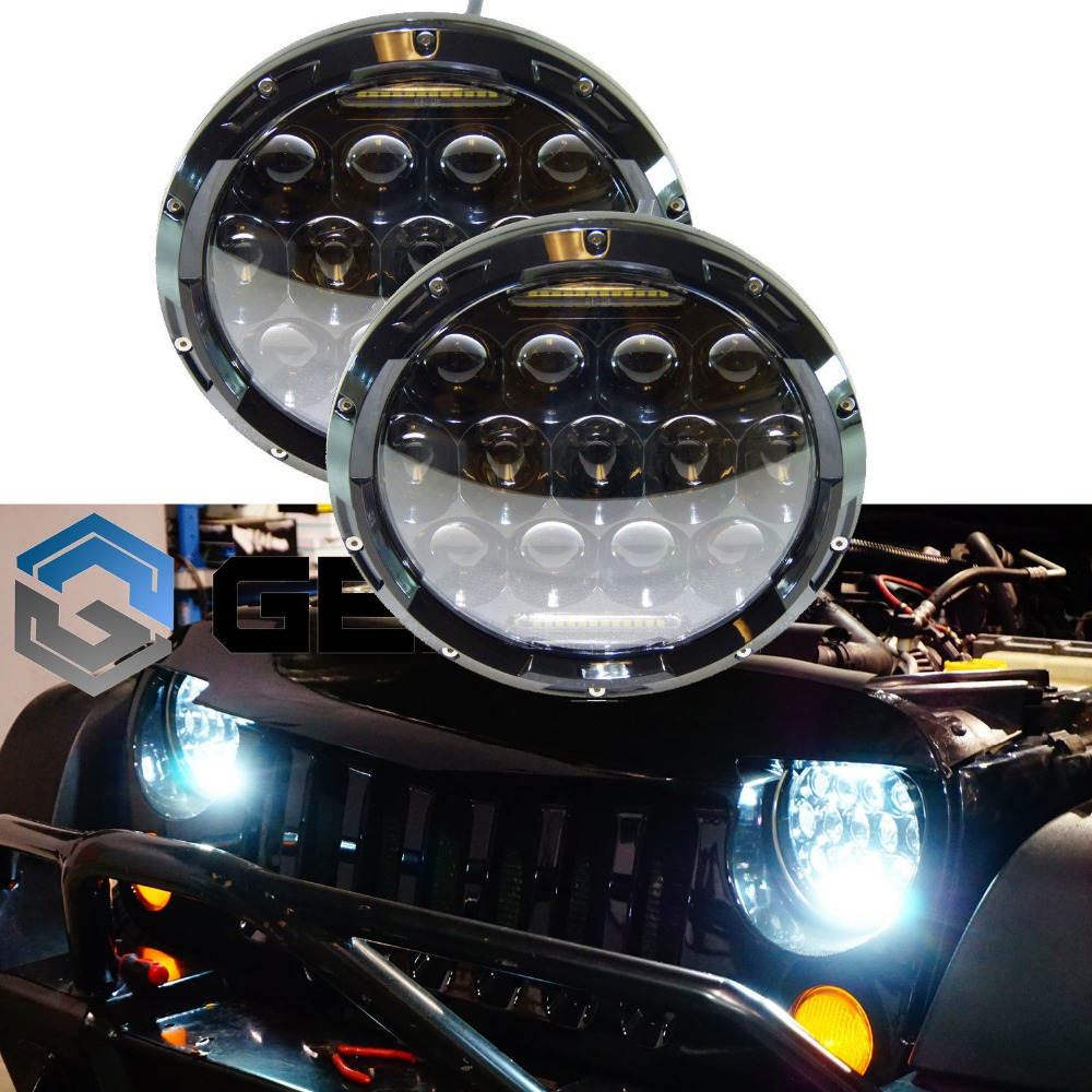 7inch 75W Round LED Headlight 7500LM Hi/Low Beam Head Light with Bulb DRL for wrangler TJ LJ JK CJ-7 CJ-8 Scrambler Harley free shipping 7inch round headlight 75w h4 motorcycle round led headlamp daymaker hi low beam head light bulb drl for offroad