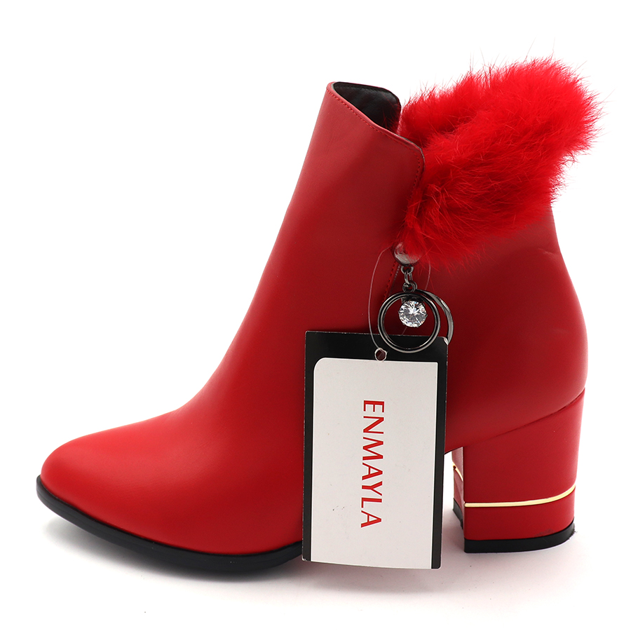ENMAYLA Womens Casual Boots New Square Heel Winter Zipper Short Plush Shoes Pointed Toe Red Feather Crystal Fashion Boots