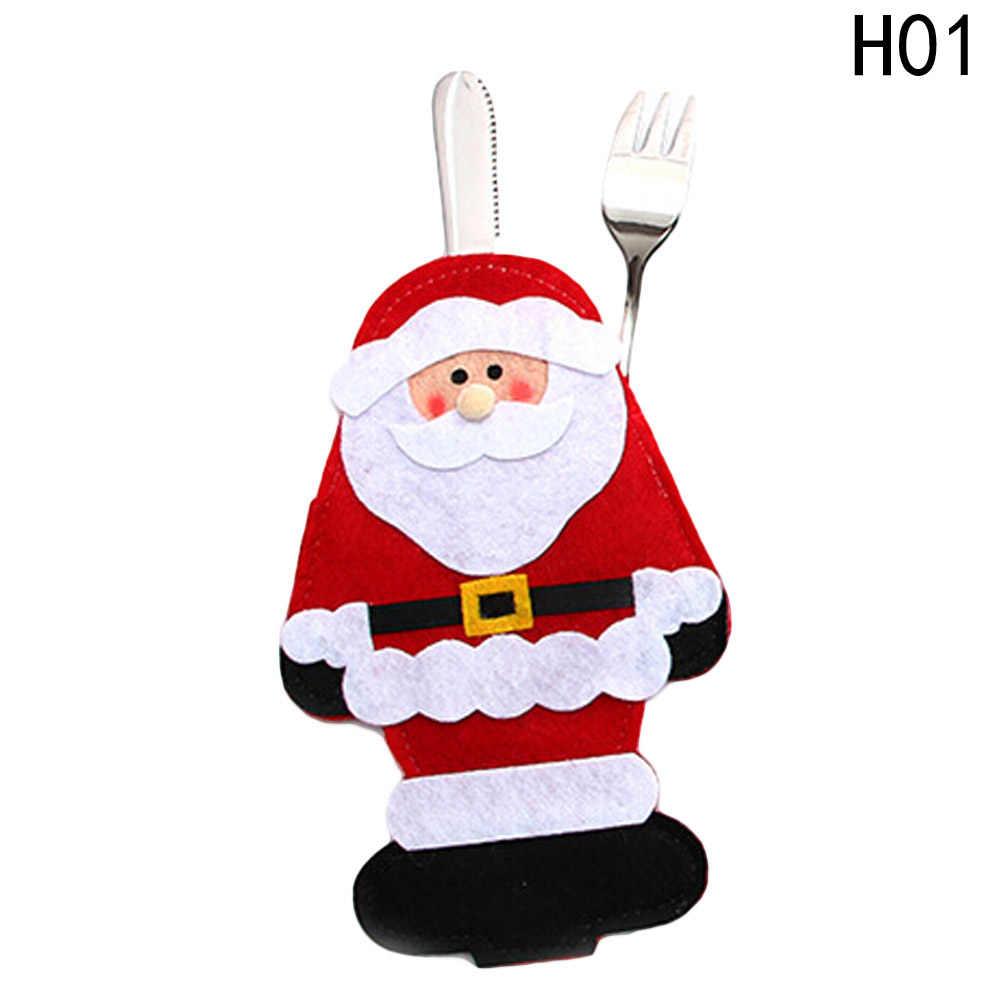 Kerst Xmas Tafel Vork Mes Bag Pouch Pocket Servies Diner Bestek Decor Servies Nonwevens Kerstman Herten Decor