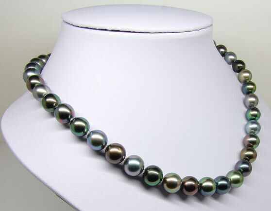 8-9mm Tahitian genuine black peacock green multicolor round pearl necklace