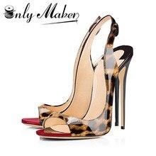 Onlymaker Модные женские туфли-лодочки на тонких высоких каблуках сандалии золотые Женские летние туфли 12 см каблуке с открытым носком модная обувь Большие размеры 15