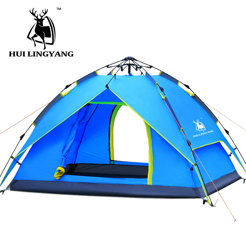 camping tent 3-4 person Hydraulic Waterproof Double Layer Outdoor Hiking Picnic tents Quick Automatic Opening mobi outdoor camping equipment hiking waterproof tents high quality wigwam double layer big camping tent