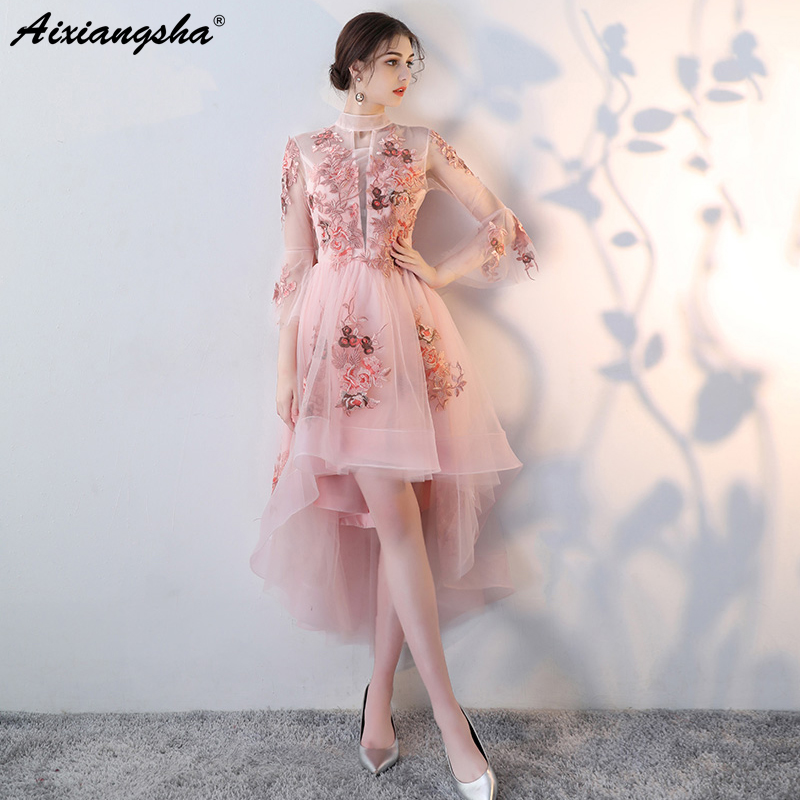 New Pink   Prom     Dresses   2018 vestido de festa High Low   Prom     Dress   Elgent Three Quarter Sleeves vestido longo Vintage Candy Color