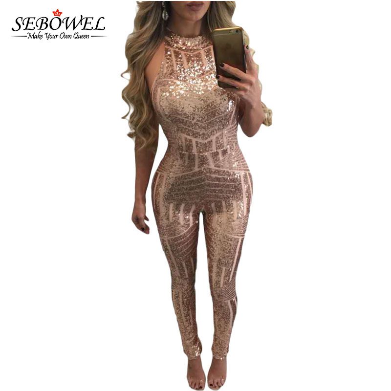 9d5231ab497a SEBOWEL 2017 Top Fashion Summer Sleeveless Skinny Gold Sequin Jumpsuit  Women Daring Backless Bodycon Jumpsuit Long Pants
