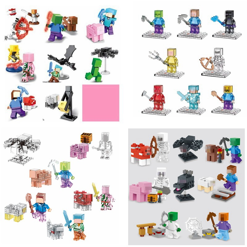 Enlighten Mine World Minecrafted Pocket Minifigures Building Blocks Bricks My Craft Crystal Mini Figures Kids Educational Toys