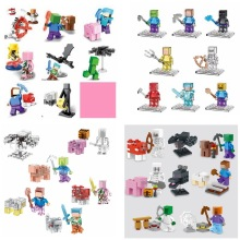 Mine World Minecrafted Steve Pigman Alex Skeleton Building Blocks Bricks Action Figure My Craft Crystal Kids