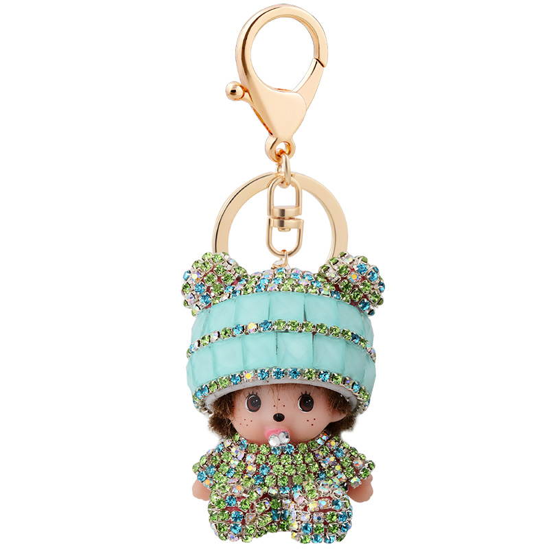 Cartoon Monchichi sleutelhanger keychain Crystal monchhichi Lovely car key chain ring holder women charm bag pendant