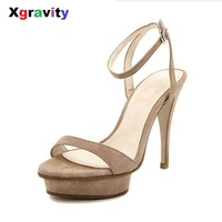 Xgravity Hot Summer Sexy Super High Heel Pumps Buckle Strap Lady Woman High Heel Sandals Genuine Leather Nude Women's Shoes B009