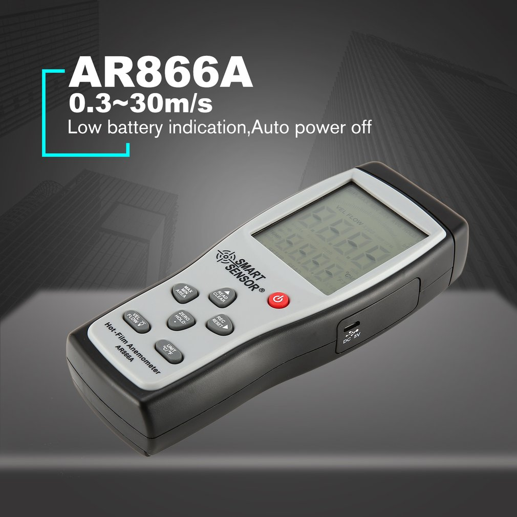 Digital Thermal Anemometer Wind Speed Tester AR866,