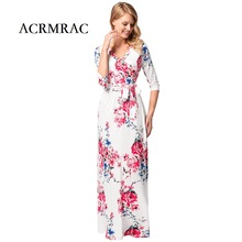 ACRMRAC Women's Clothing summer Chiffon Dress printing V collar Half sleeve Dresses