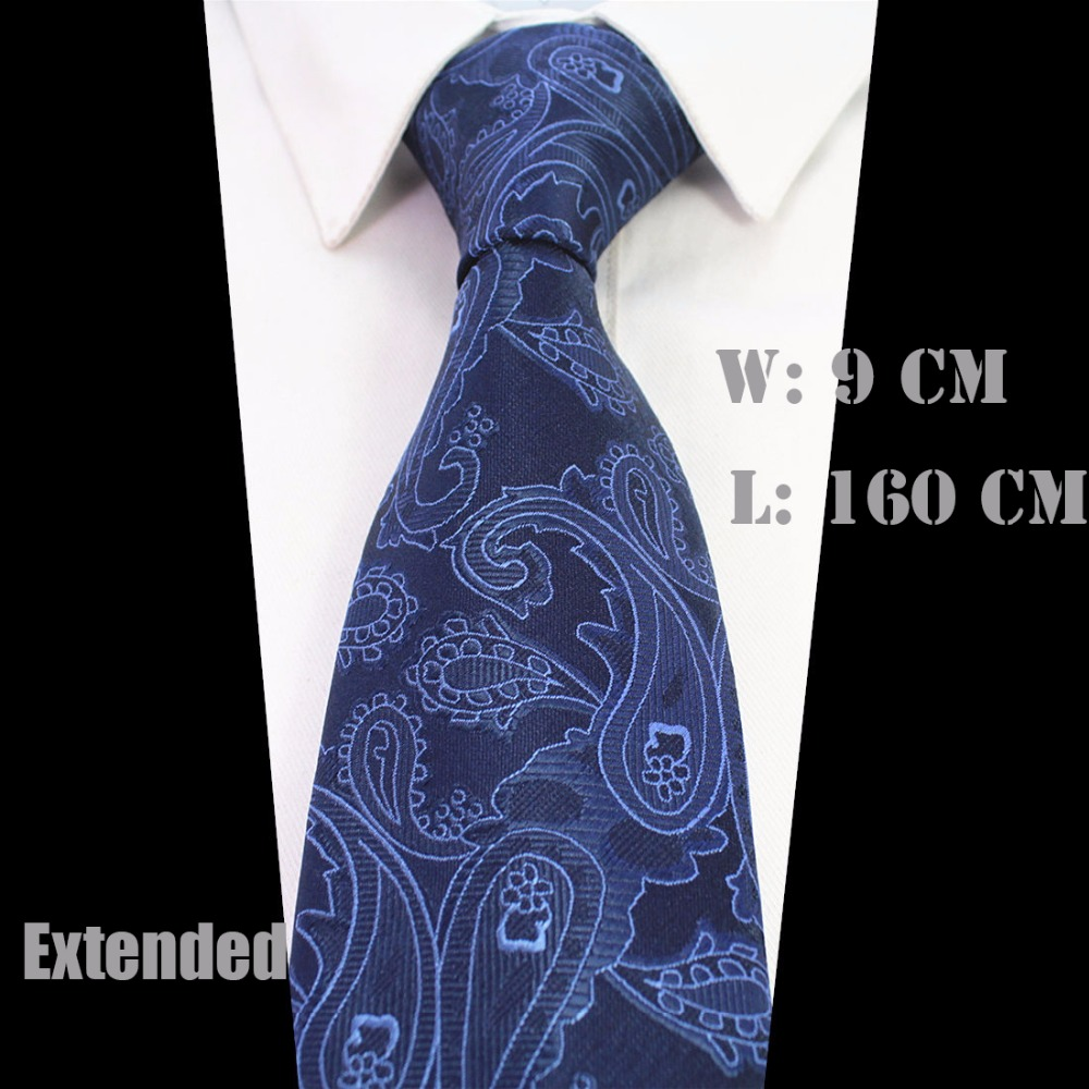 Ricnais New Design Extra Long Size Tie For Men 160cm*9cm Necktie Floral Paisley Big Size Man Silk Neck Ties Suit Wedding Party