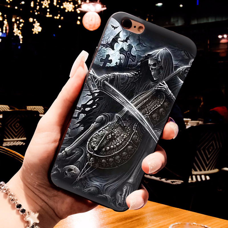 MaiYaCa Grim Reaper Skull Skeleton Luxury Hybrid phone case for iPhone 6S 6plus 7 7plus 8 8Plus X XS MAX XR 5 5S 11pro max case in Half wrapped Cases from Cellphones Telecommunications