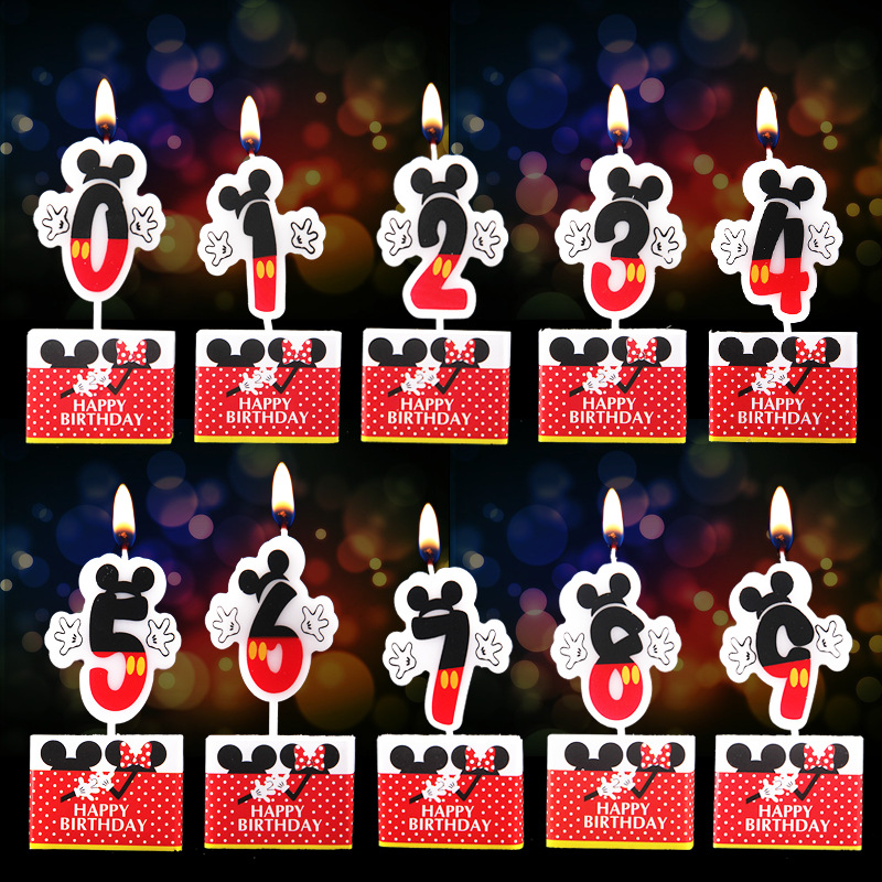 Birthday Candle Mickey Minnie Mouse Candle 0 1 2 3 4 5 6 7