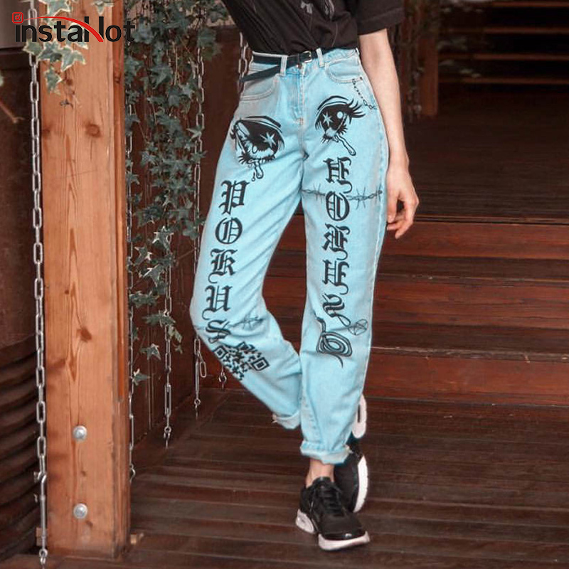 InstaHot Horus Letter Eyes Print   Jeans   Women Cool Straight Light Blue Denim Pants 2019 Spring New Arrival Trousers Female   Jeans