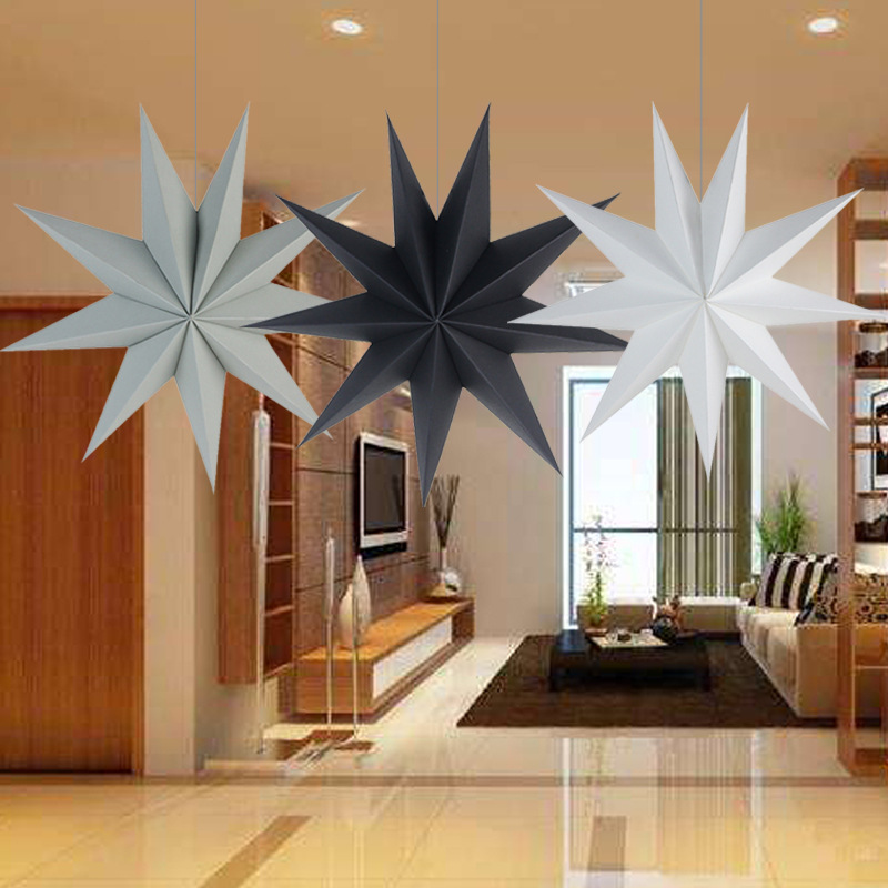 1Pcs 30cm 6 Nine Angles Paper Star Decoration Tissue Paper Star Lantern Hanging Stars For home Party Decoration