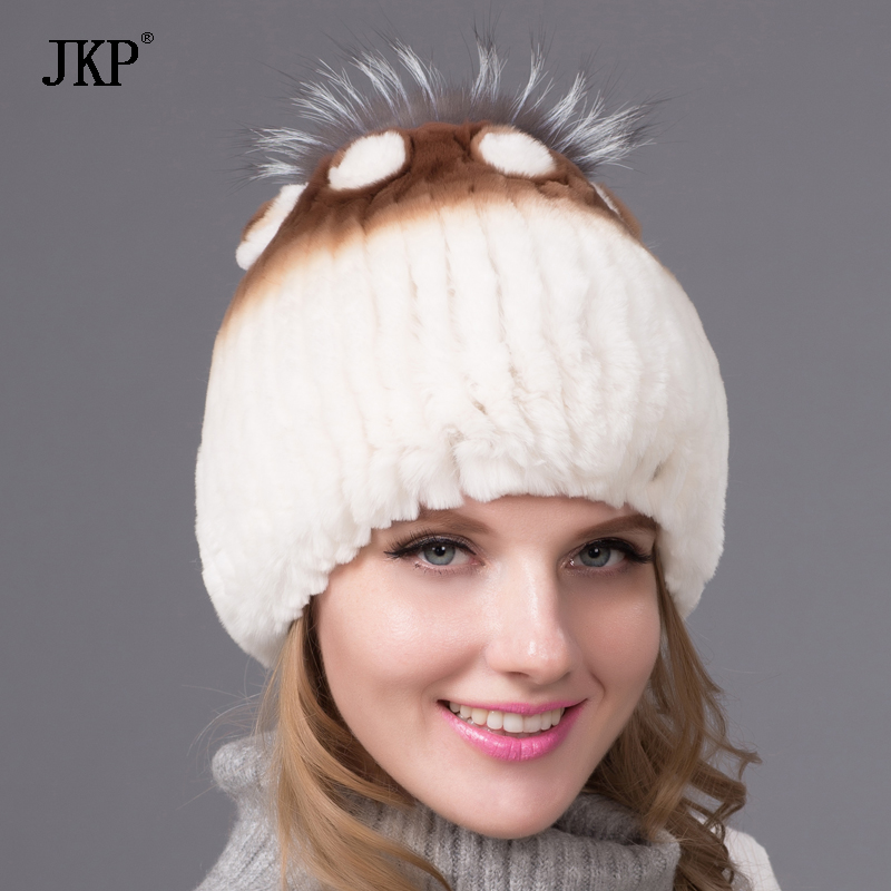 Winter fur hats for women rex rabbit fur hat silver fox fur with lining pom pom knit beanies With lining Russian fur cap THY-05