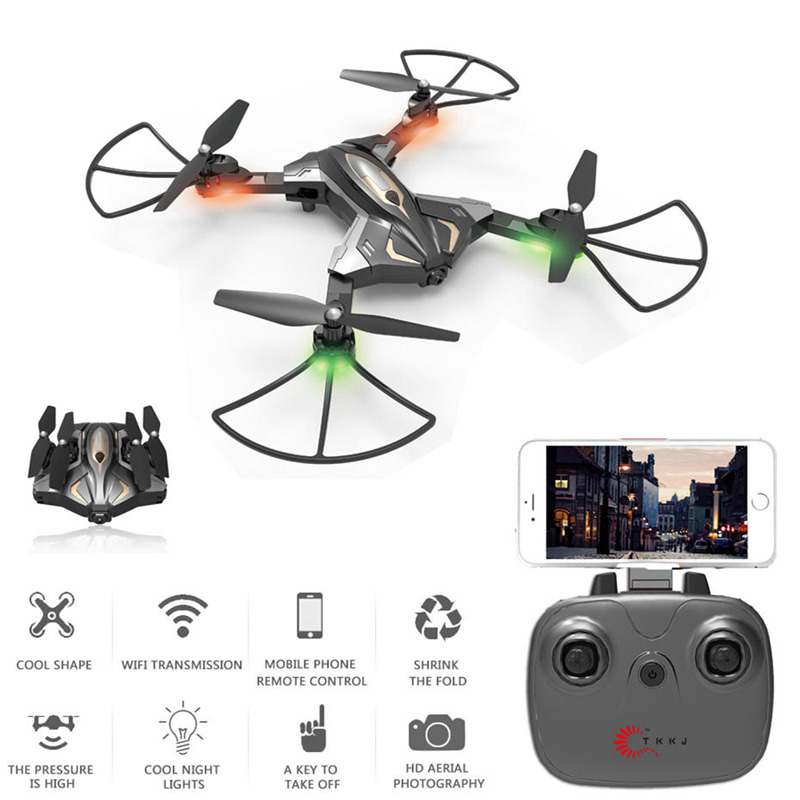 Quadcopter TKKJ L600 Optical Flow Positioning Foldable Mini Rc Selfie Drone with Wifi FPV 0.3MP HD Camera Altitude Hold RCdrone tracker selfie pocket drone altitude hold foldable mini rc quadcopter wifi camera helicopter headless