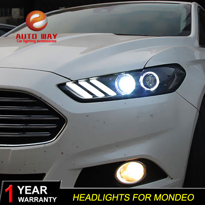 Car styling case for Ford Mondeo Headlights 2013 2014 2015 LED Headlight DRL Lens Double Beam