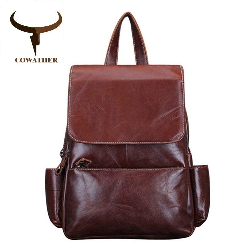 COWATHER Vintage 2018 vache véritable sacs à dos en cuir pour femmes grande capacité Exquis Artisanat Huile cire en cuir de haute qualité