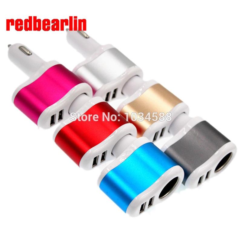 redbearlin 12V 1A 2 1A Universal 2 Ports Dual USB One Way Car Cigarette Lighter Power