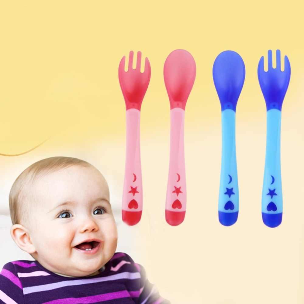 เด็กอุณหภูมิช้อนส้อมความปลอดภัยซิลิโคน Flatware เด็กเครื่องครัวช้อนบนโต๊ะอาหาร Home