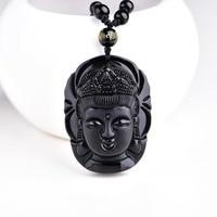Bead Curtain Natural Obsidian Transhipped Scrub Buddha Head Pendant Black