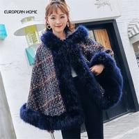 Autumn Winter Poncho Women Cape Plus Size Korean Elegant Hooded Cloak Big fox fur collar Casual Ponches and Capes Coat Female